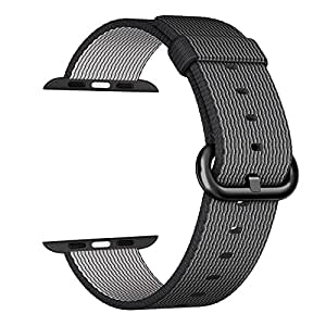 i-Liu Watch Band,42mm Woven Nylon Strap Replacement Nylon Band for Apple Watch Series 1 Series 2 (Black)