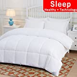 Alternative Comforter - OHAPPES Down Alternative Quilted Comforter Queen for Summer & All Seasons with Corner Tabs-Reversible Duvet Insert-Premium Hypoallergenic-Fluffy, Warm, Soft (White, Queen)