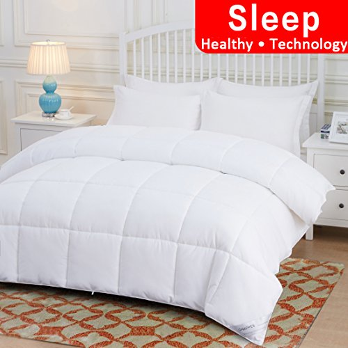OHAPPES Down Alternative Quilted Comforter Queen for Summer & All Seasons with Corner Tabs-Reversible Duvet Insert-Premium Hypoallergenic-Fluffy, Warm, Soft (White, Queen)