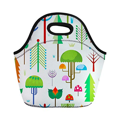 Semtomn Neoprene Lunch Tote Bag Autumn Forest Colorful Whimsy Trees Botany Branch Bush Colors Reusable Cooler Bags Insulated Thermal Picnic Handbag for Travel,School,Outdoors, -