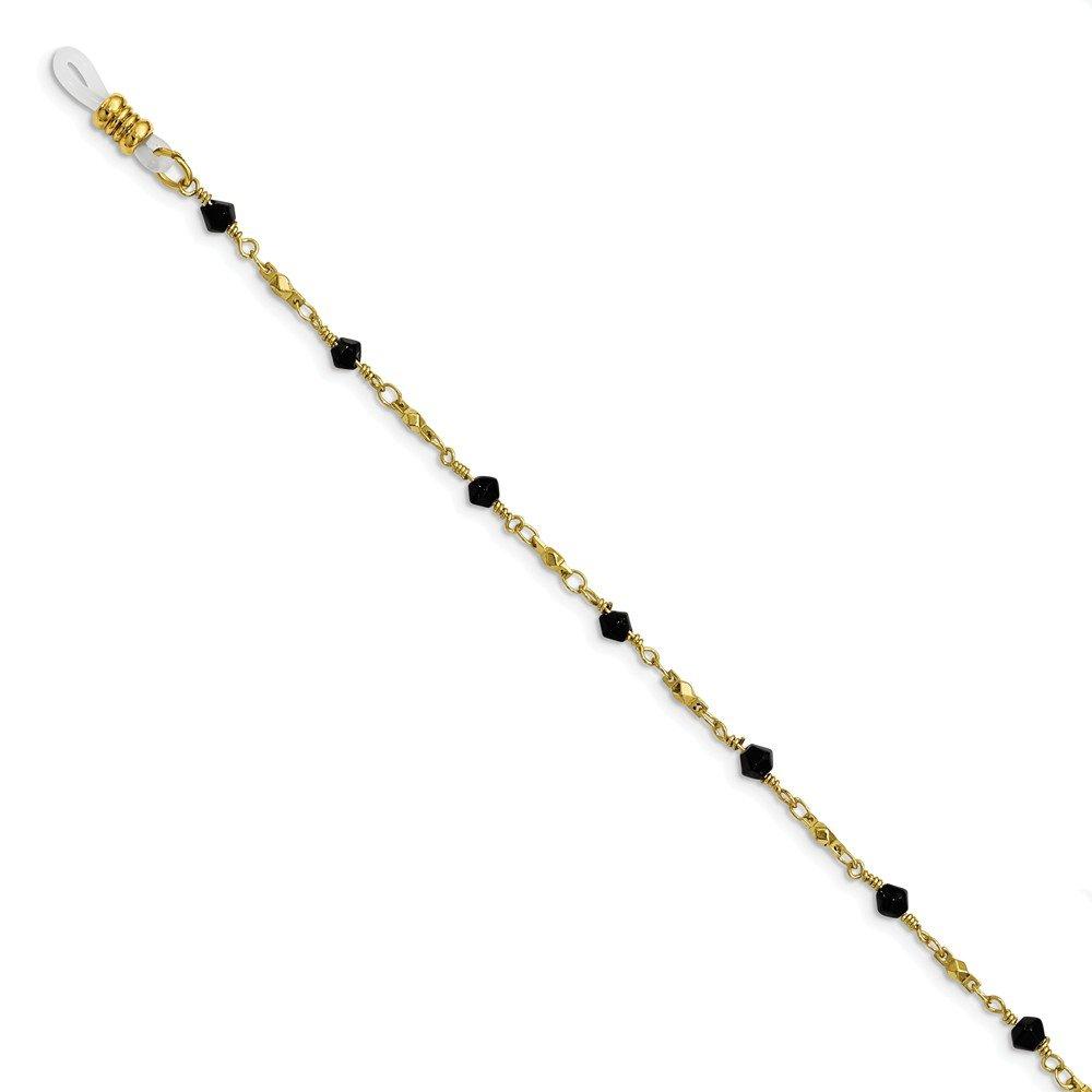 Best Birthday Gift Gold-tone Black Glass Beaded 32in Eyewear Holder