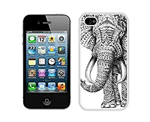 Apple Iphone 4s Case Durable Soft Silicone PC Aztec Elephant Animal Funny Slim White Cell Phone Case Cover for Iphone 4