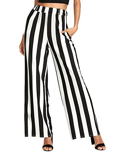 MakeMeChic Women's Striped Belted Wide Leg Cropped Palazzo Pants ##Black L (Striped Pants Cropped)
