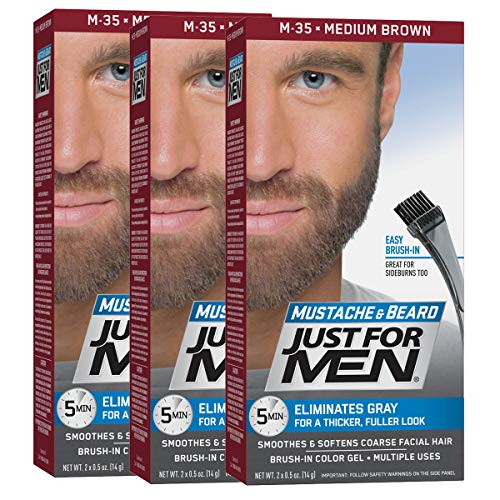 Just For Men Mustache & Beard Brush-In Color Gel, Medium Brown (Pack of 3)