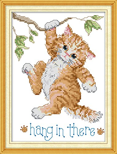 CaptainCrafts Hots Cross Stitch Kits Patterns Embroidery Kit - Cat (STAMPED)