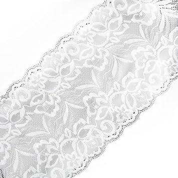 Yalulu 5 Yards x 15CM Width Embroidered Stretch Floral Lace Edge Trim Ribbon Applique DIY Garment Sewing Craft Wedding Decoration Wine Red