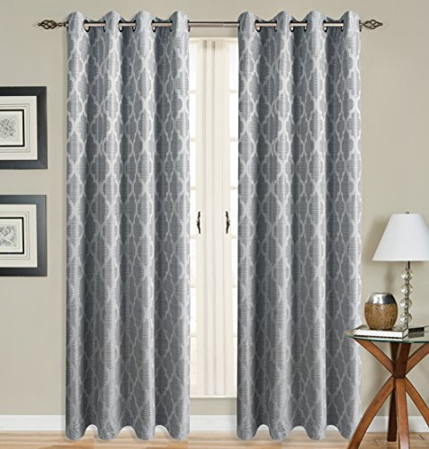 All American Collection New 2 Panel Curtain Set Moroccan Trellis Woven Blackout with 8 Grommets (Panel Floral Trellis)