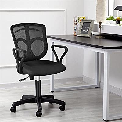 Yaheetech Mid-Back Mesh Chair Mesh Computer Desk Task Ergonomic Chair