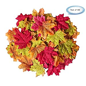 "Ezclassy-500 Pcs Assorted Fake Silk Maple Leaves Bulk Artificial Fall Leaf Foliage 3.15"" L X 3.15"" Thanksgiving Table Door Fall Wedding Party Events Birthday Baby Shower Decorations 53"