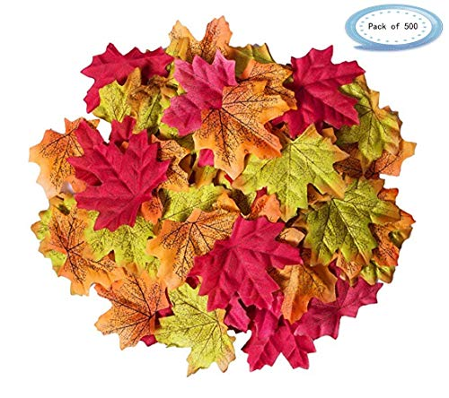 - Ezclassy-500 Pcs Assorted Fake Silk Maple Leaves Bulk Artificial Fall Leaf Foliage 3.15