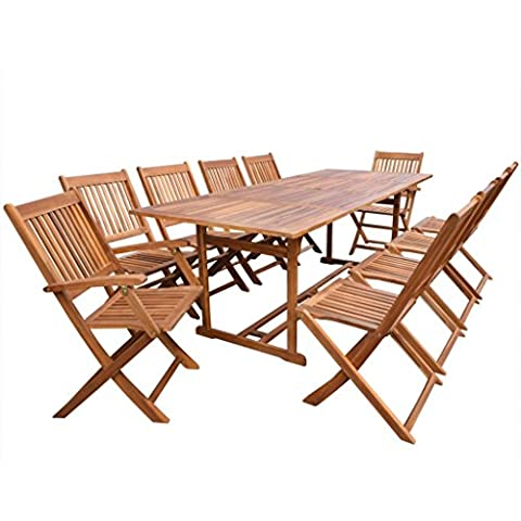vidaXL Outdoor Patio Acacia Wood Dining Set 11 Piece Table Chair Deck Garden Furniture