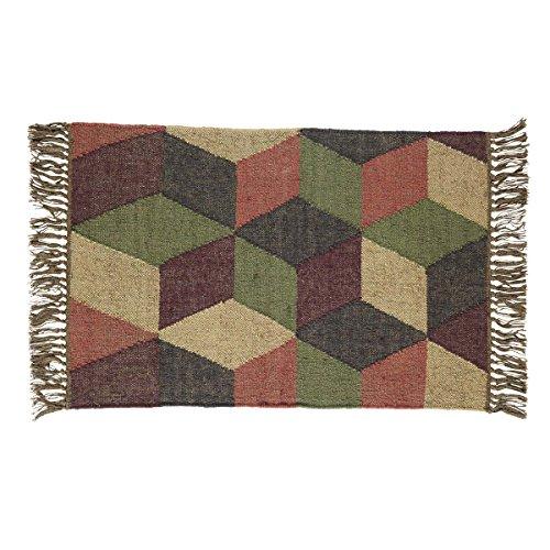 VHC Brands 12407 Primitive Farmhouse Flooring - Calistoga Tan Kilim Rug, 2' x - Sand Blend Wool