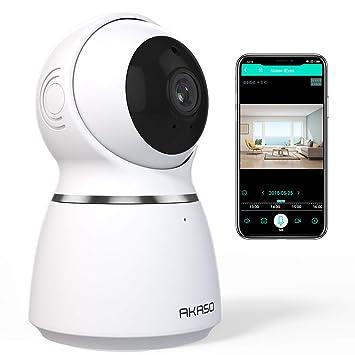 AKASO Cámara de Vigilancia Interior WiFi 1080P 360° 3D Auto-Seguimiento IP Cámara de Seguridad Inalámbrica Doméstica para Niños Perros Detección de ...