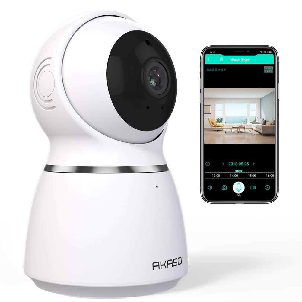 AKASO Cámara de Vigilancia Interior WiFi 1080P 360° 3D Auto-Seguimiento IP Cámara de