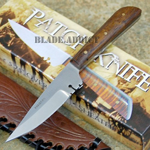 (New Full Tang Western Style Skinner Fixed Blade Trade Patch EcoGift Nice Knife with Sharp Blade + Leather Sheath- Great For Fun And Practical Use)