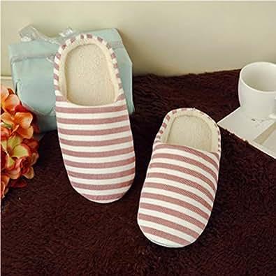 Amazon.com: AgoHike Striped Indoor Cotton Slippers Anti