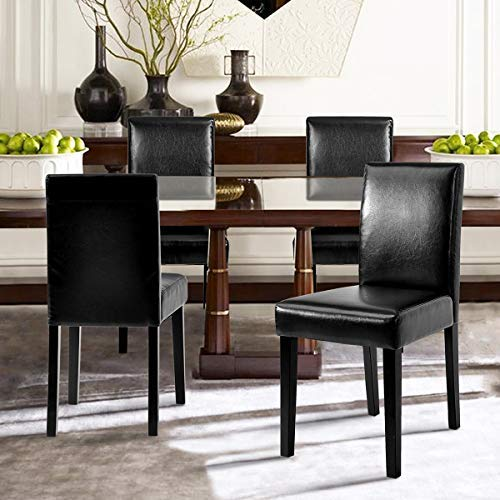 PU - Jet Black ZF Collections Dura Dining Chair with Wood Print Metal Legs - PU Upholstery - Black Brown (Set of 4 Dinning Chairs)
