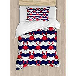 Ambesonne Crabs Duvet Cover Set Twin Size, Nautical Maritime Theme Cute Crabs on Striped Background Illustration Print, Decorative 2 Piece Bedding Set with 1 Pillow Sham, Red and Navy Blue