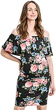 Hello MIZ Women's Floral Ruffle Off Shoulder Maternity Dress - Made in