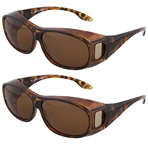 Fitover Sunglasses, Polarized Lens Cover For Eyeglasses and Prescription Glasses to Reduce Glare and Shade Eyes, Stylish and Comfortable By Dackers (Tortoise, 2 - Sunglasses Designer Low Priced
