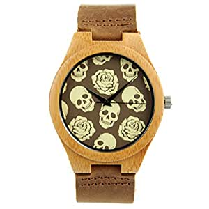 Dovoda unisex men and women bamboo wood watch calf leather skull dial for halloween for Dovoda watches