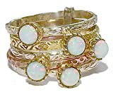 Two Tones Fire Opal Ring 02 Gorgeous Flashes High Vibration Crystal Energy Size 7.5 (Gift Box)
