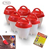 Egglettes Egg Cooker Hard Boiled and Soft Maker, Non Stick Silicone, Egg Maker Poachers As Seen on TV Shock Egg Cups Set Tools without the Shell, BPA Free,Steamer (Pack of 6 pieces)