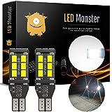 LED Monster 2-Pack White 15SMD LED Bulbs High Power Back Up Light Exterior Light License Tail Parking Side Maker Fog DRL Driving Light Lamp Error-Free Canbus