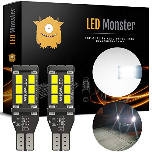 LED Monster 912 921 LED Backup Light Bulbs High Power 2835 15-SMD Chipsets Extremely Bright Error Free T15 906 W16W for Back Up Lights Reverse Lights, 6000K White