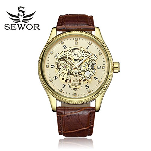 Black Gold Dial Diamond (SEWOR Big Dial Diamond Design Black Gold Luxury Male Skeleton Mechanical Watch)
