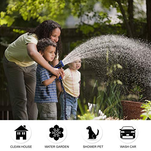 KAREEME Garden Hose 50FT Expanding Water Hose with 9 Function Spray Gun, Flexible Garden Hose Pipe with 3 Three Layer Latex core, 3times Expandable, Anti-Leakage, Lightweight, Easy Storage