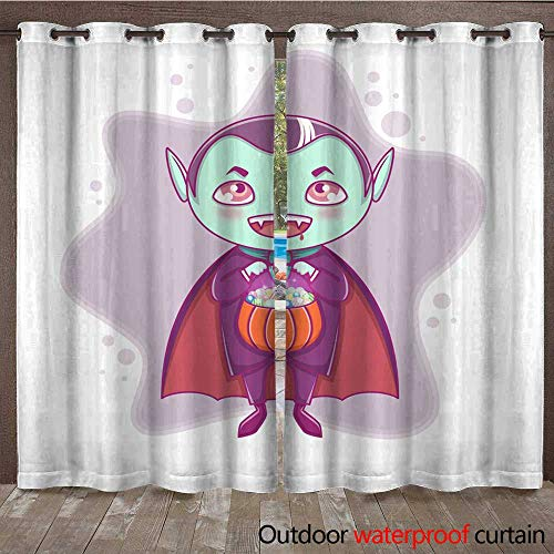 RenteriaDecor Home Patio Outdoor Curtain Halloween Little Vampire Dracula Boy Kid with Smiling face in Halloween Costume with Pumpkin in his Hands W84 x L108 -