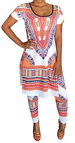 Wholesale Makkrom Women's African Floral Short Dress Top and Pants Set Tribal Suits 2 Pieces free shipping