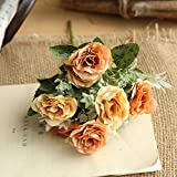 scaling Artificial Flowers Decoration✿ 8 Heads Artificial Fake Peony Silk Flower Bridal Hydrangea Home Wedding Decor (Orange)