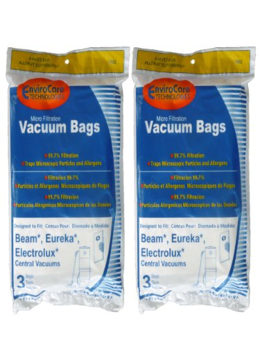 EnviroCare Replacement Vacuum Bags for Beam, Eureka, Electrolux Central Vacuums 6 bags - White Westinghouse Vacuum Replacement Bag