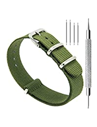 CIVO Watch Bands NATO Premium Ballistic Nylon Watch Strap Stainless Steel Buckle 18mm 20mm 22mm with Top Spring Bar Tool and 4 Spring Bars Bonus (Army Green, 18mm)