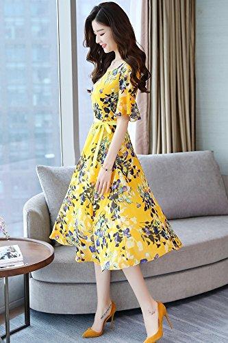 SLR donna maniche Abito da stampato estivo floreale giallo lunghe vestito con rzrnAxH