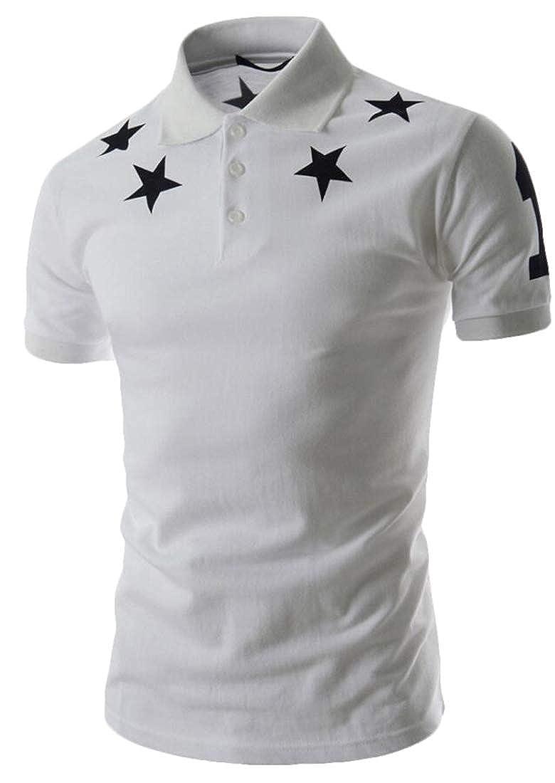 Alion Mens Tees Short Sleeve Star Print Summer Polo Shirt Casual Blouse
