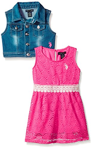 U.S. Polo Assn. Big Girls' Dress With Sweater Or Jacket, Denim Vest Lace Dress Neon Hot Pink, 12