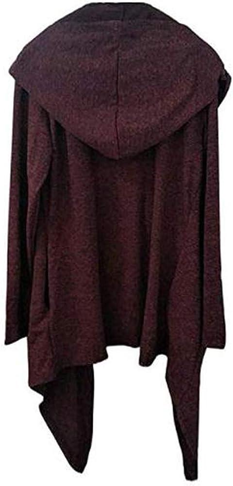 Mens Long Sleeve Trench Hooded Cardigan Coat Irregular Hem Open Front Jackets Loose Fit Windbreaker Overcoat