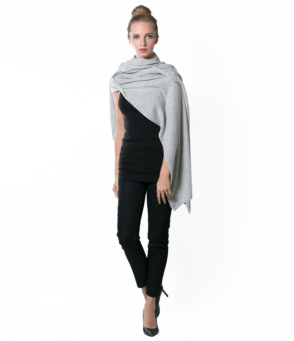 Super Soft Oversized 100% Cashmere Travel Blanket Scarf Wrap - Pearl Grey