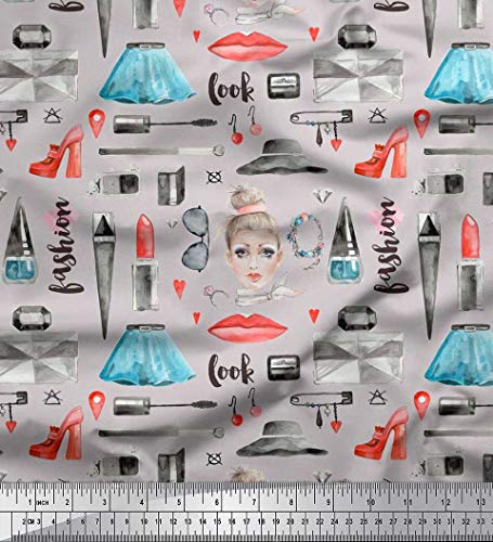 - Soimoi Gray Cotton Voile Fabric Lipstick,Perfume Bottle & Dress Fashion Printed Craft Fabric by The Yard 42 Inch Wide