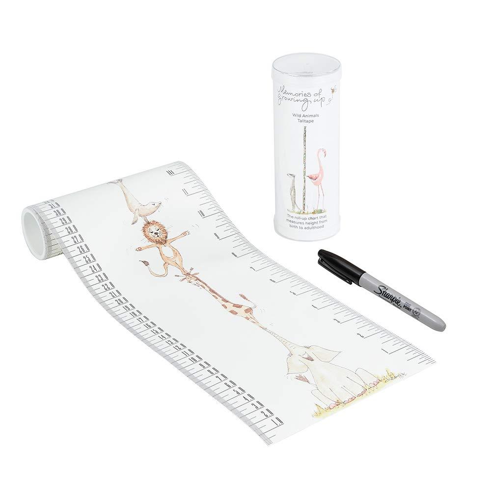 TALLTAPE - Portable, Roll-up Height Chart Plus 1 Sharpie Marker Pen To Measure Children From Birth, Choice of 10 Designs, a Memento For Life - Wild Animals Talltape Ltd TTA_02