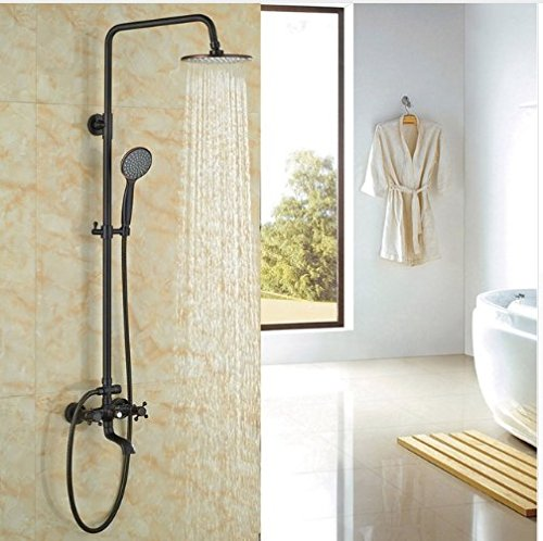 Gowe Contemporary Bath Tub Shower Set 8-in Rainfall Shower Faucet With Handheld Double Levers 0