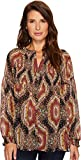 Wrangler Women's Western Long Sleeve Blouse Gold/Plum Medium