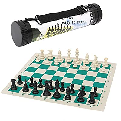 Cheat Put - 43cm Outdoor Travel Tournament Size Chess Game Set Plastic Piece Green Roll Portable - Settled Hardened Rigid Nonmoving Unmoving Placed Readiness Dictated Bent - 1PCs