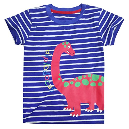 Dhasiue T Shirts for Girls Toddler Kid Short Sleeve Cotton Tops Tees Children Clothes for Age 1-7 Years (Stripes Sorrel)