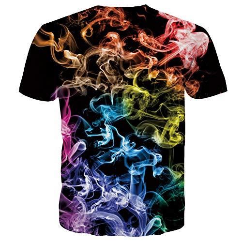 RAISEVERN Summer Ployester Short Sleeve Novelty Printed Tshirts for Women Men, Colorful Smog, L