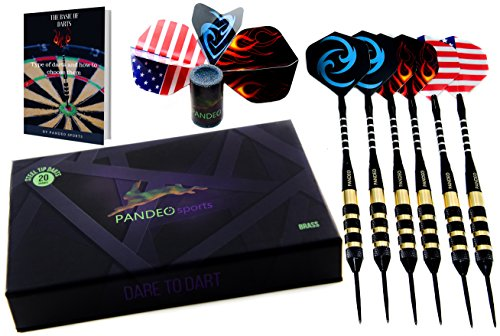 Professional Steel Tip Darts Set   6 Pack   Darts With 20 Grams Brass Barrel   Aluminum Shafts   3 Style Flights   Darts Sharpener  Free E Book   Storage Case By Pandeo Sports