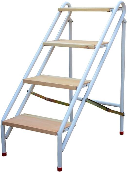 Escaleras Pesado Escalera Plegable 4 Pasos Taburete Estructura de Acero Multifunción Escalera Alta Escalera Ascender Banco con Pedal de Madera, como un Estante para Zapatos o un Puesto de Flores: Amazon.es: Hogar